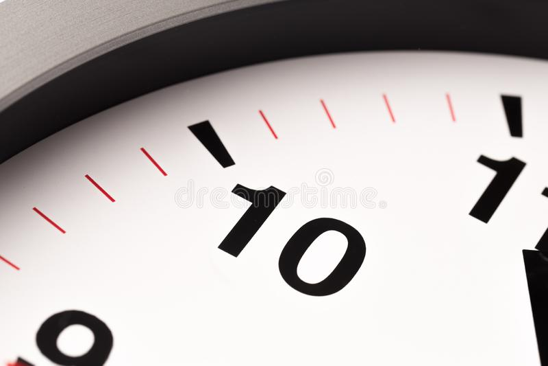 白色时钟,关闭看法 免版税库存图片