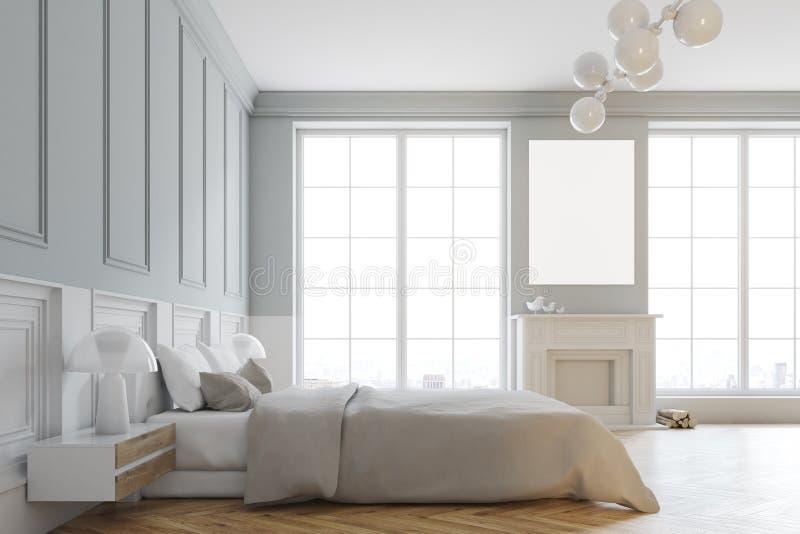 白色时髦的主卧室边的内部 皇族释放例证