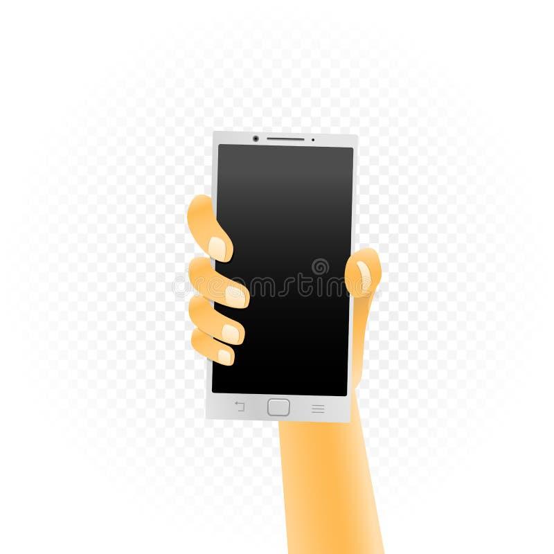 白色智能手机在手中 皇族释放例证