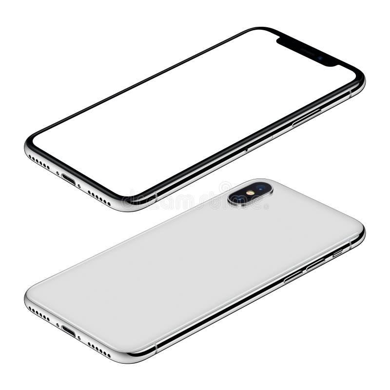 白色智能手机大模型前面和后部等轴测图CW转动了表面上的谎言 库存例证