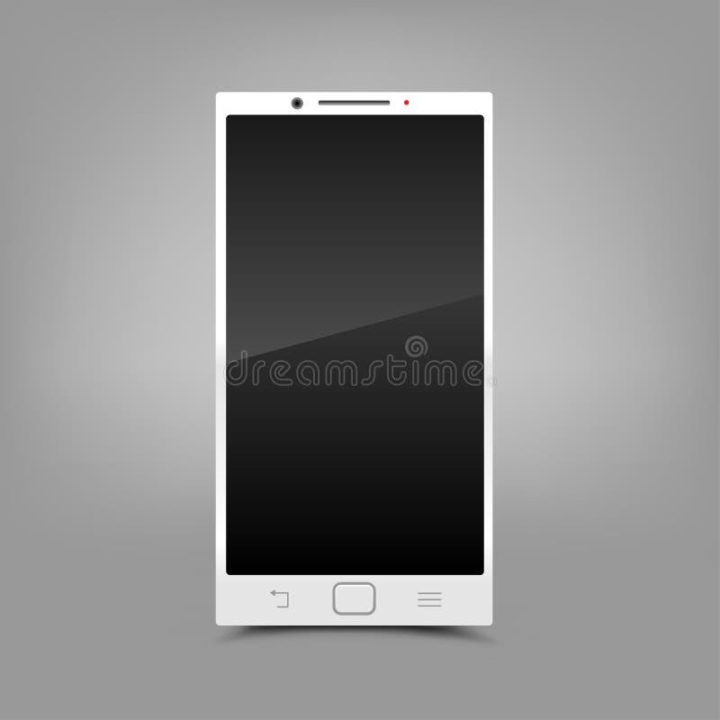 白色智能手机灰色背景 库存例证