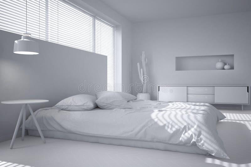 白色最低纲领派卧室,与软百叶帘的大窗口,当代建筑学室内设计总白色项目  皇族释放例证