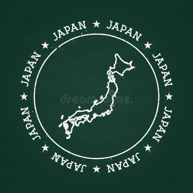 白色有日本地图的白垩纹理橡胶封印 向量例证