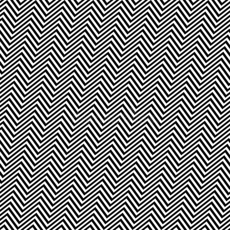 黑白色有角无缝的之字形线样式 向量例证