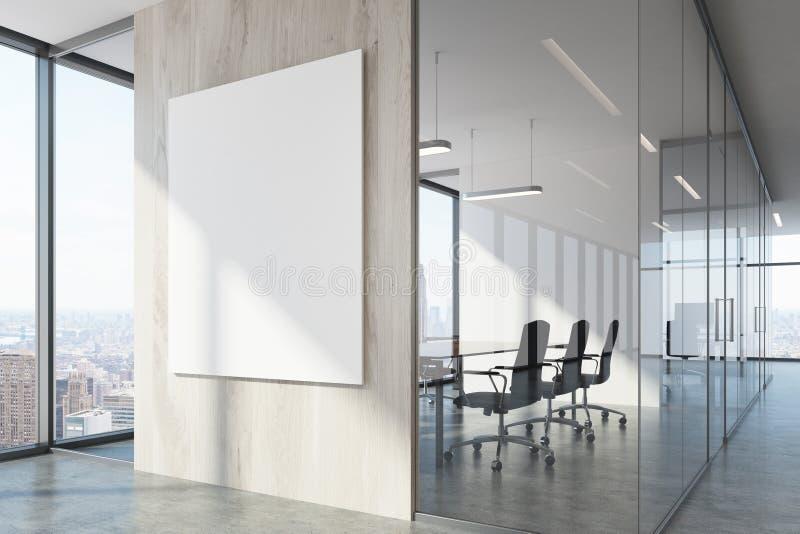白色木办公室等候室和会议室 皇族释放例证