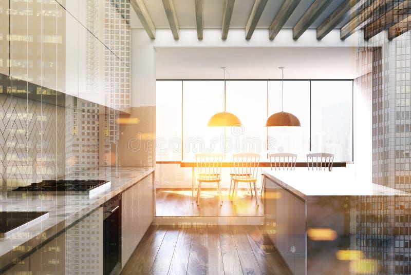 白色木厨房,被定调子的大理石酒吧 向量例证