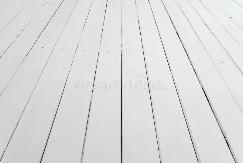 白色木地板背景透视 免版税库存图片