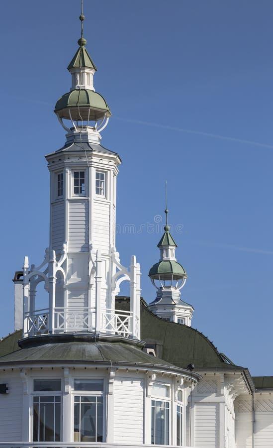 白色木房子在哥本哈根,丹麦 免版税库存图片