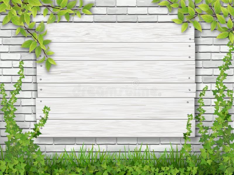 白色木标志树枝白色砖墙 皇族释放例证