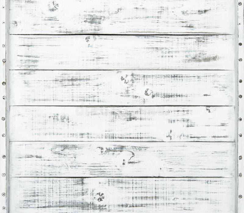 白色木纹理背景自然样式 免版税库存图片