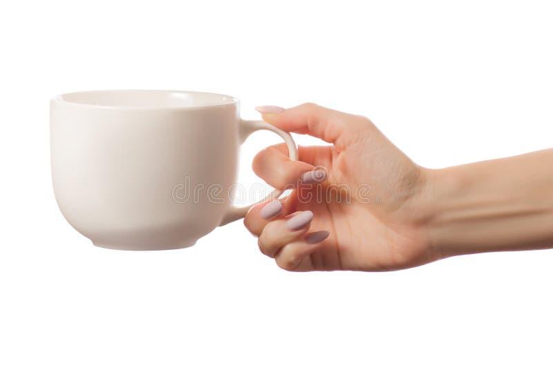 白色杯子在被隔绝的手上 库存照片