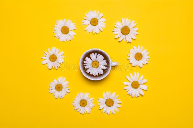 白色杯子用在黄色背景的甘菊茶 在视图之上 图库摄影