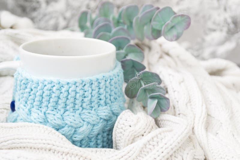 白色杯子用茶在一个被编织的蓝色框架和包裹在白色被编织的格子花呢披肩 在背景中,玉树小树枝和 免版税库存照片