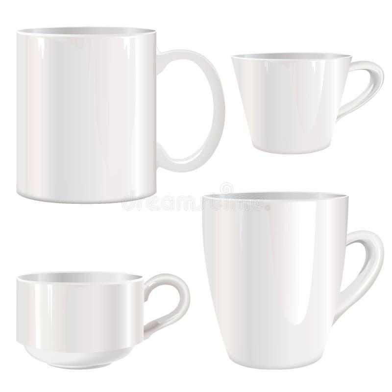白色杯子集合 皇族释放例证