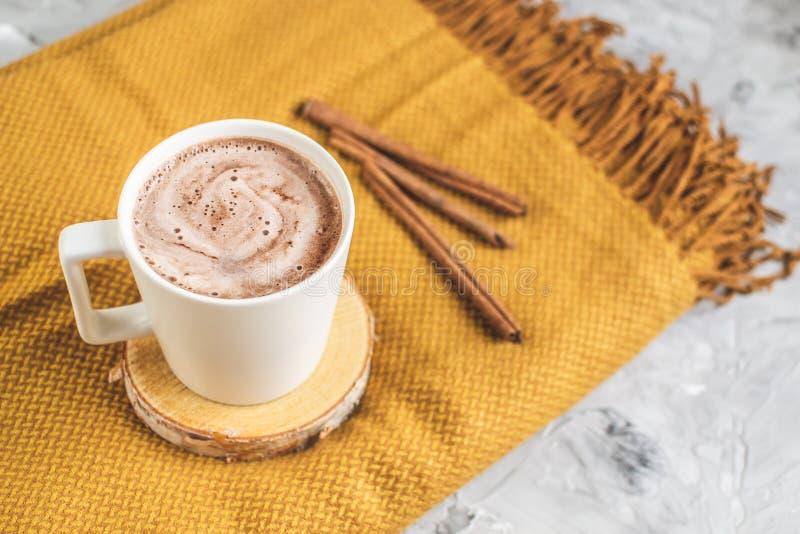 白色杯热巧克力,黄色格子花呢披肩,叶子,灰色背景,秋天概念 免版税库存图片