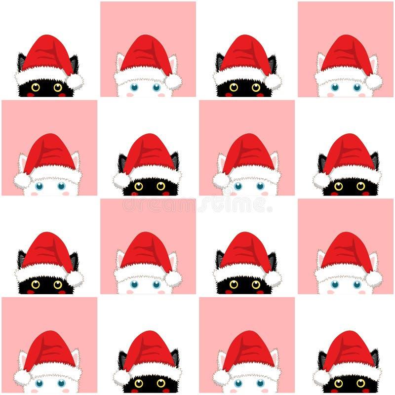 黑白色桃红色猫棋盘圣诞节背景 向量例证
