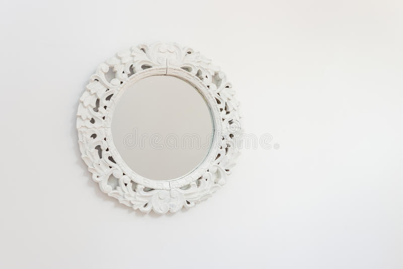 白色框架镜子 免版税库存照片