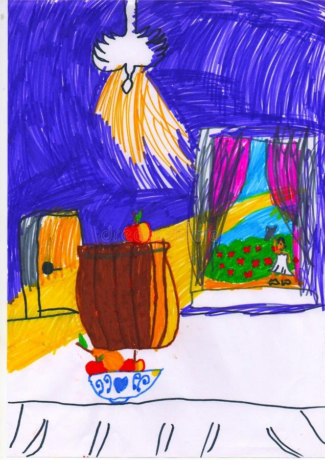 白色桌、苹果和看法从窗口,childs图画 皇族释放例证