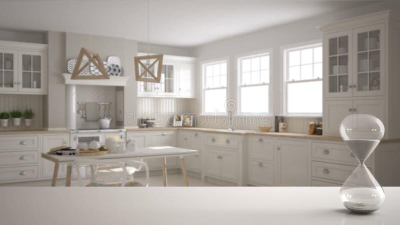 白色桌或架子与测量通过的时间在斯堪的纳维亚经典厨房的水晶滴漏有饭桌的和 向量例证