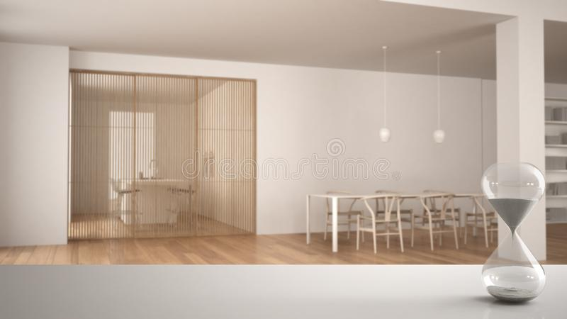 白色桌或架子与测量通过的时间在最低纲领派白色和木客厅的水晶滴漏有用餐的 向量例证