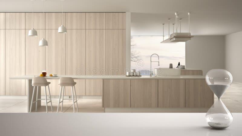 白色桌或架子与测量通过的时间在现代白色和木厨房,建筑学内部的水晶滴漏 库存例证