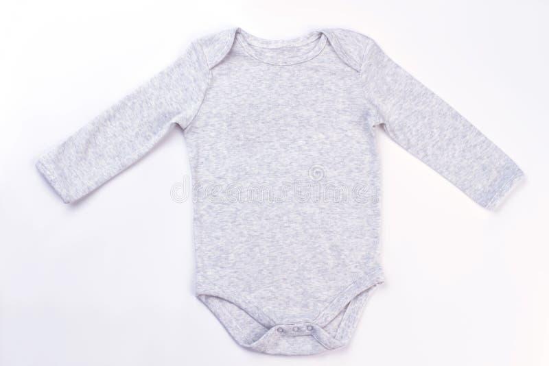 白色棉花婴孩onesie 库存图片