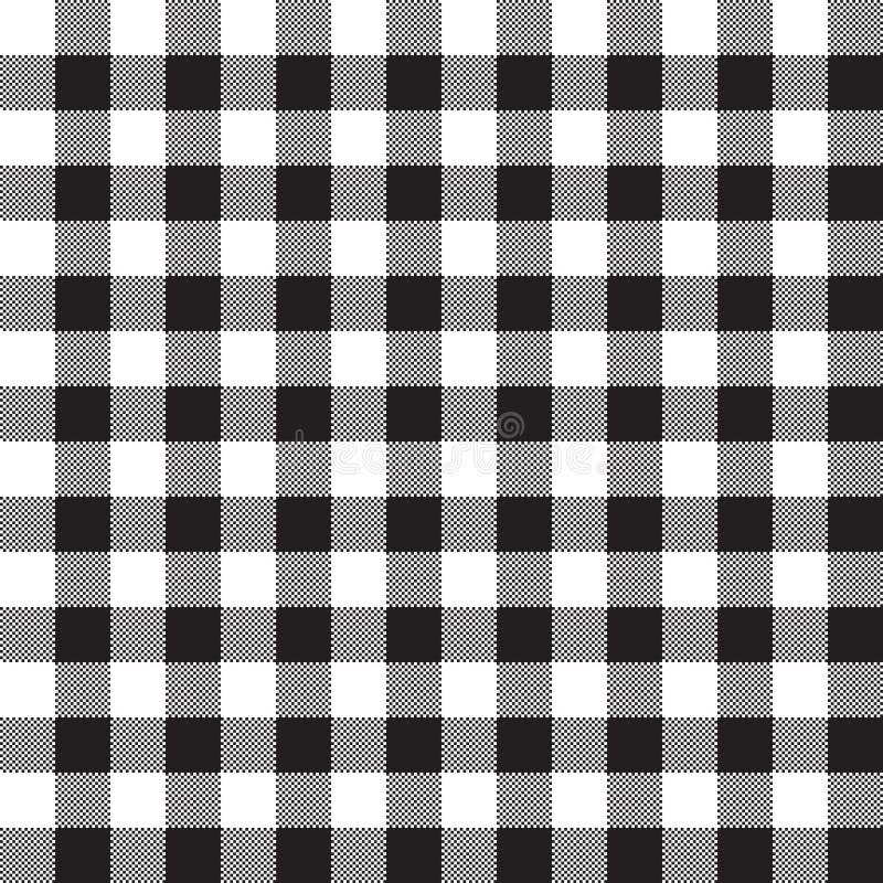 黑白色棋盘检查纺织品无缝的样式 向量例证