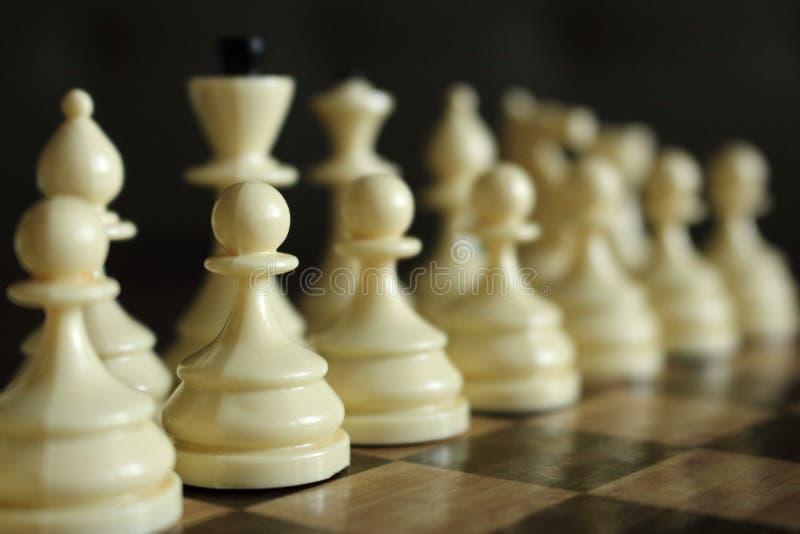 白色棋系列计算集中和未聚焦于木棋枰作为战略比赛概念 图库摄影