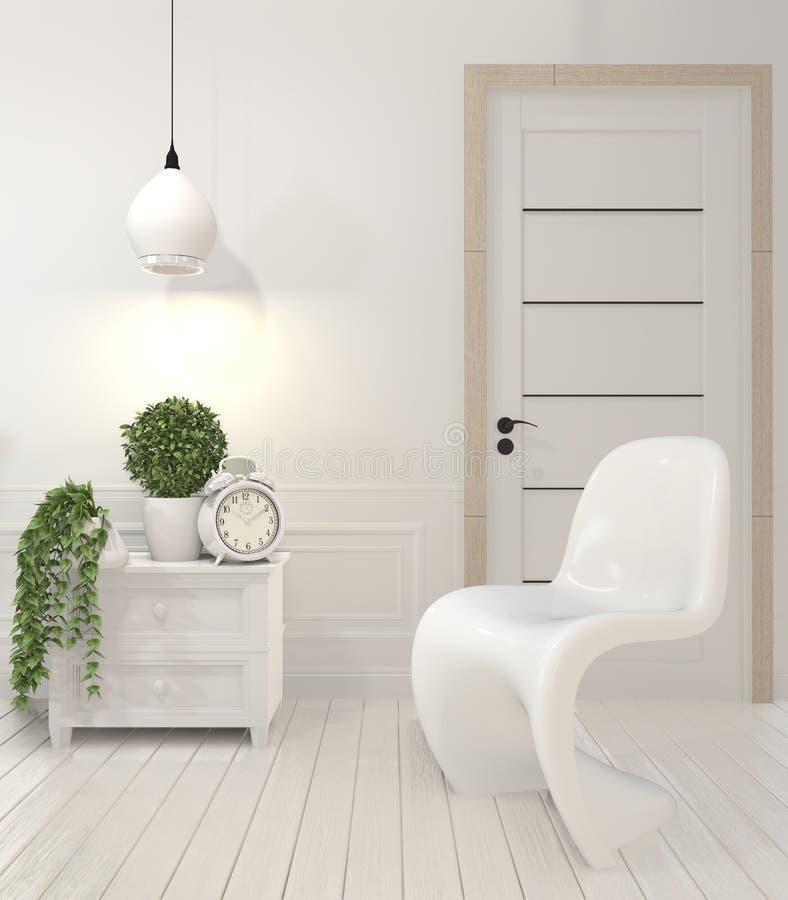 白色椅子和装饰现代样式的嘲笑在绝尘室内部 3d?? 库存例证