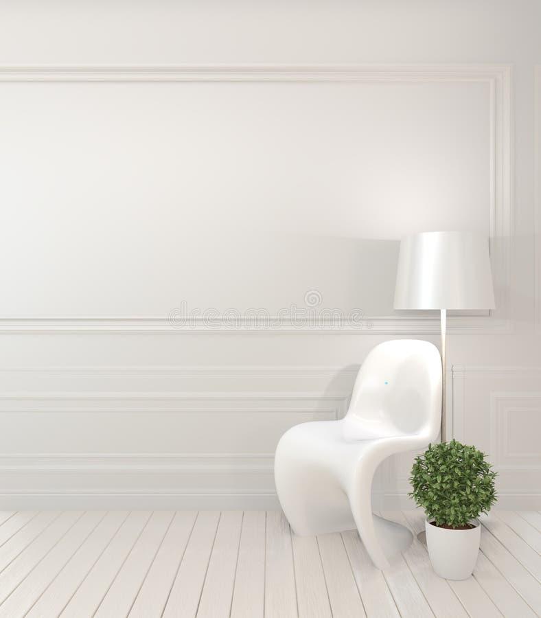 白色椅子和装饰现代样式的嘲笑在绝尘室内部 3d?? 向量例证