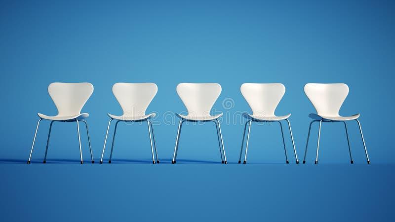 白色椅子行  向量例证