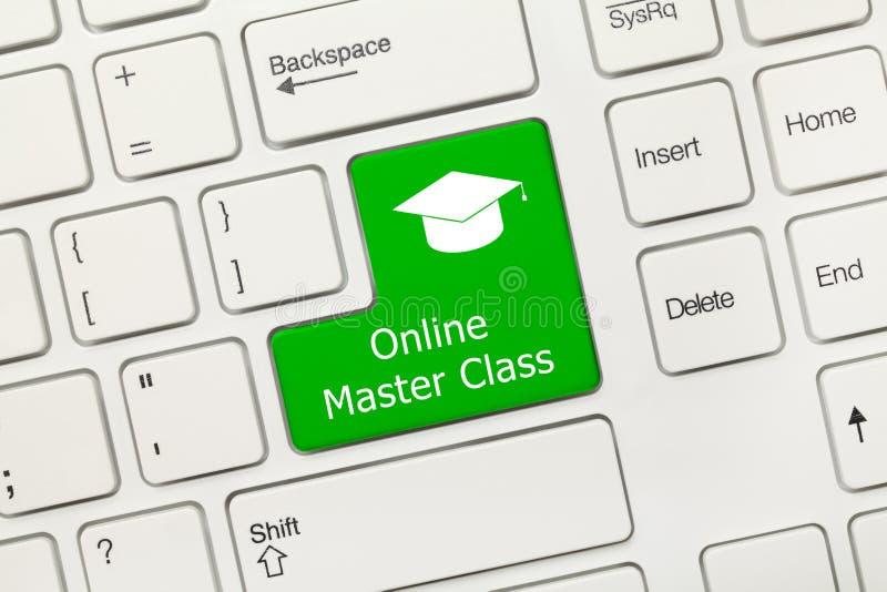 白色概念性键盘-网上大师类绿色钥匙 免版税库存照片
