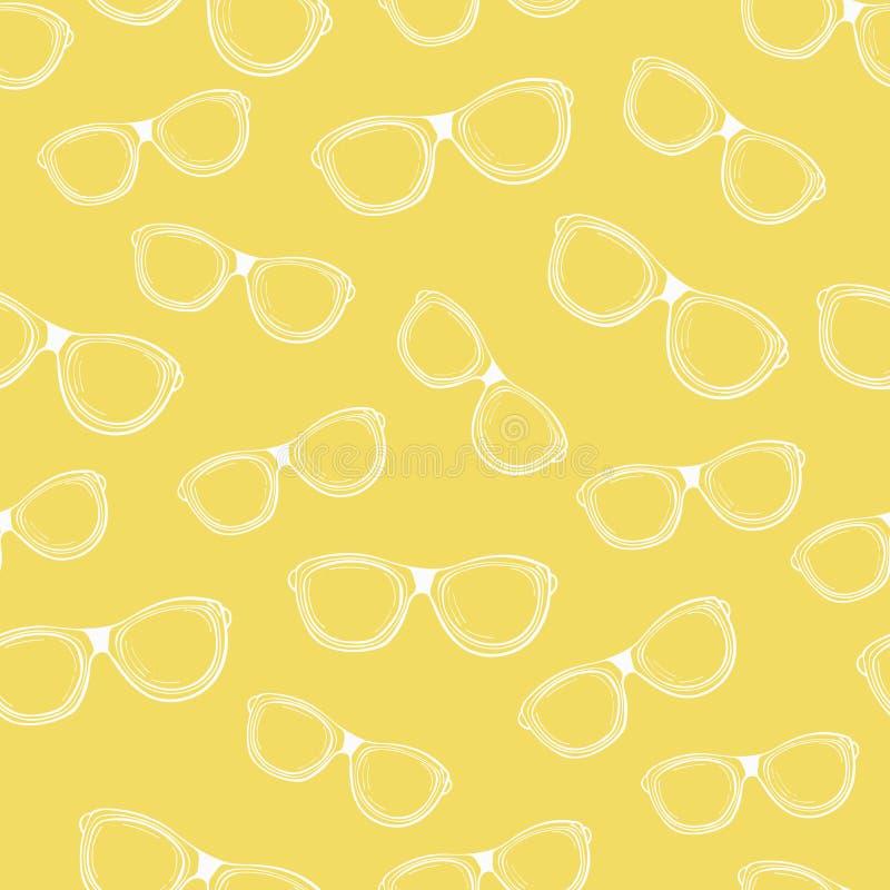 白色概述点的无缝的样式在黄色背景的 皇族释放例证