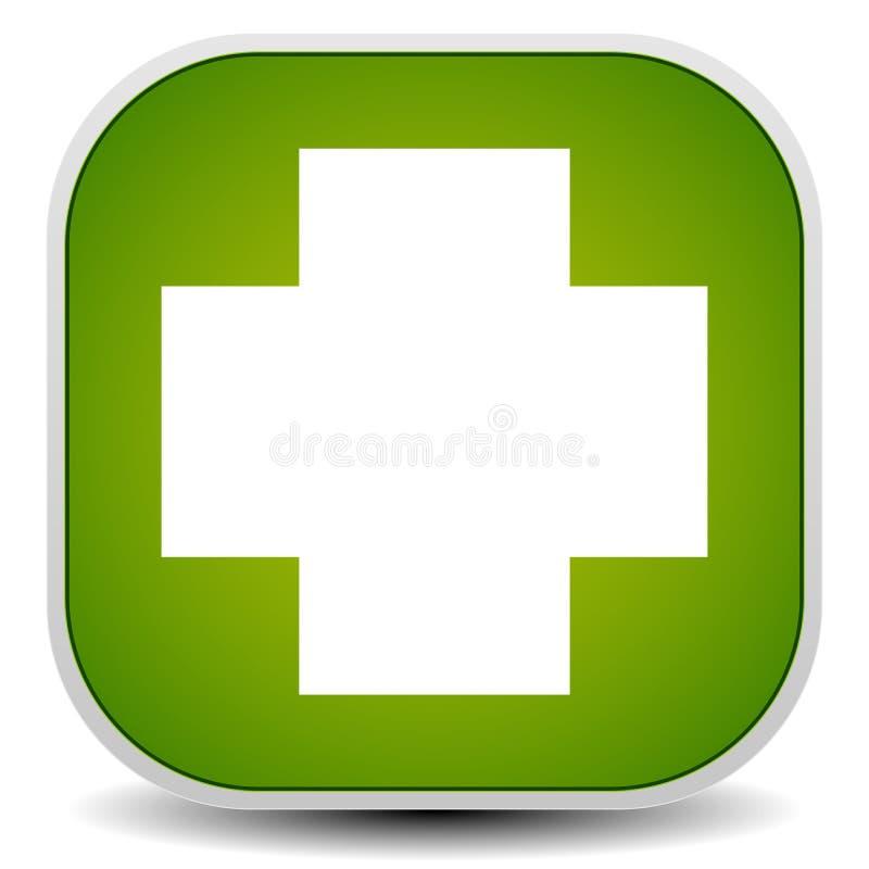 白色横渡绿色-急救的,健康概念 库存例证