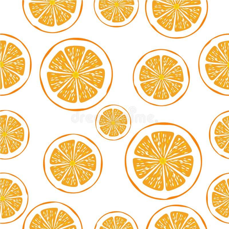 白色橙色切片的矢量无缝背景 库存例证