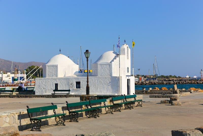 白色正统希腊教会 库存照片
