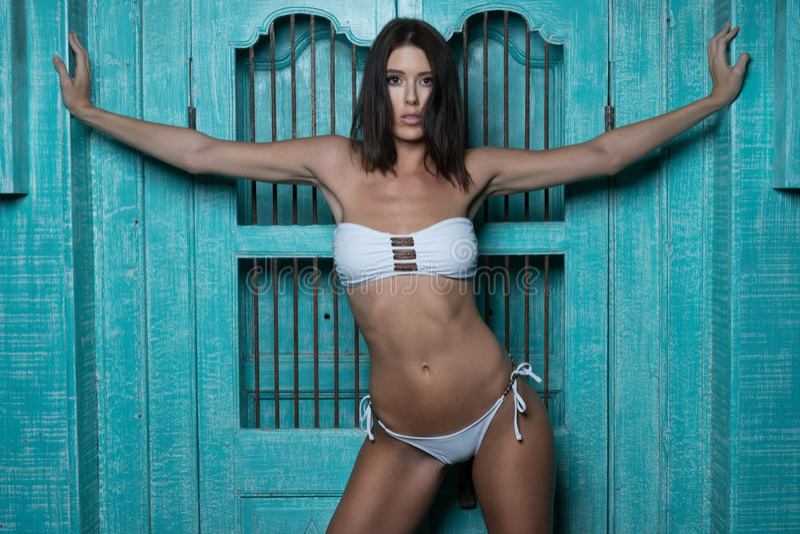 白色比基尼泳装的美丽的深色的妇女 免版税库存照片