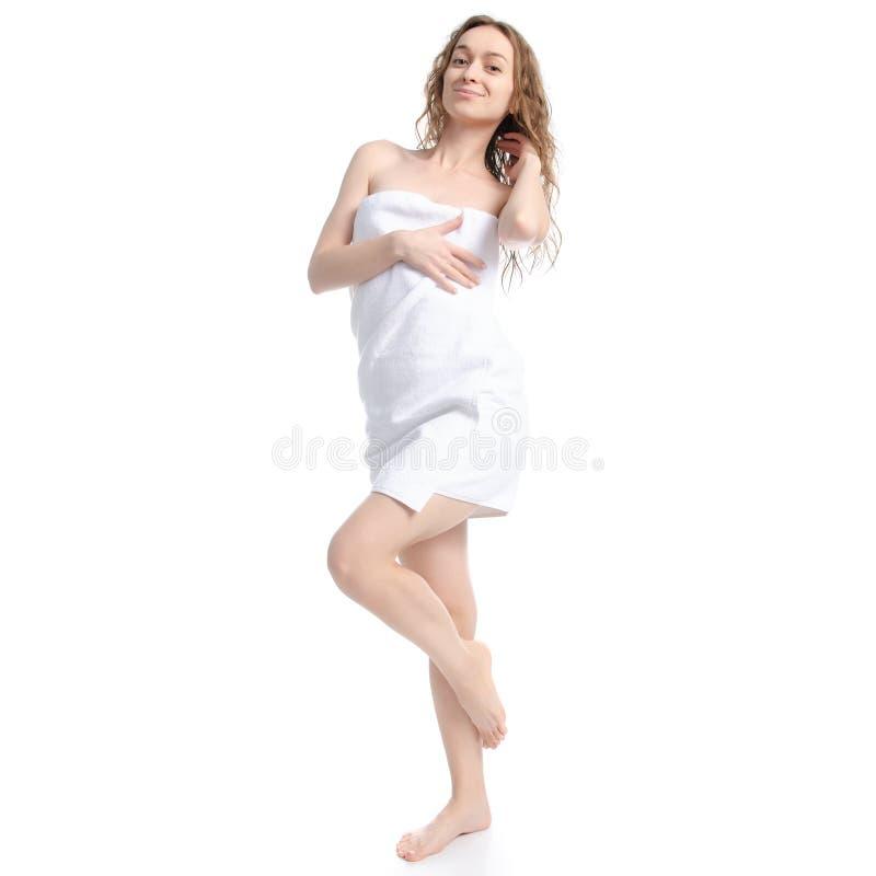 白色毛巾秀丽身体关心的美女 库存照片