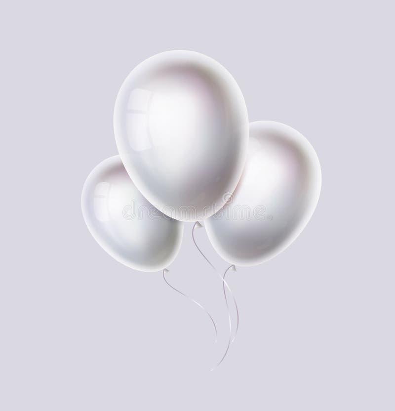白色气球束 现实珍珠,光滑和发光的氦气轻快优雅为生日,党,婚姻的装饰 向量例证