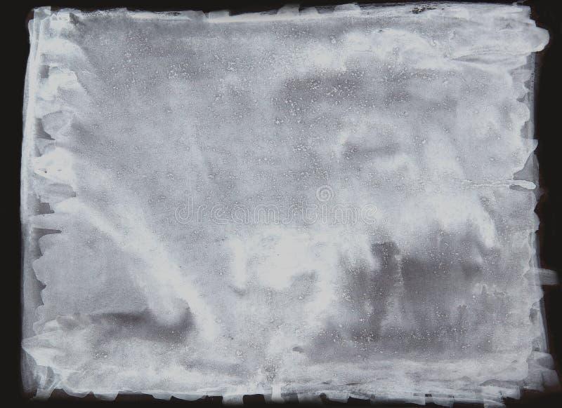 白色水彩刷子,抽象画笔污点,白色被着墨的土污点喷溅了浪花飞溅油漆,在黑色的例证 向量例证
