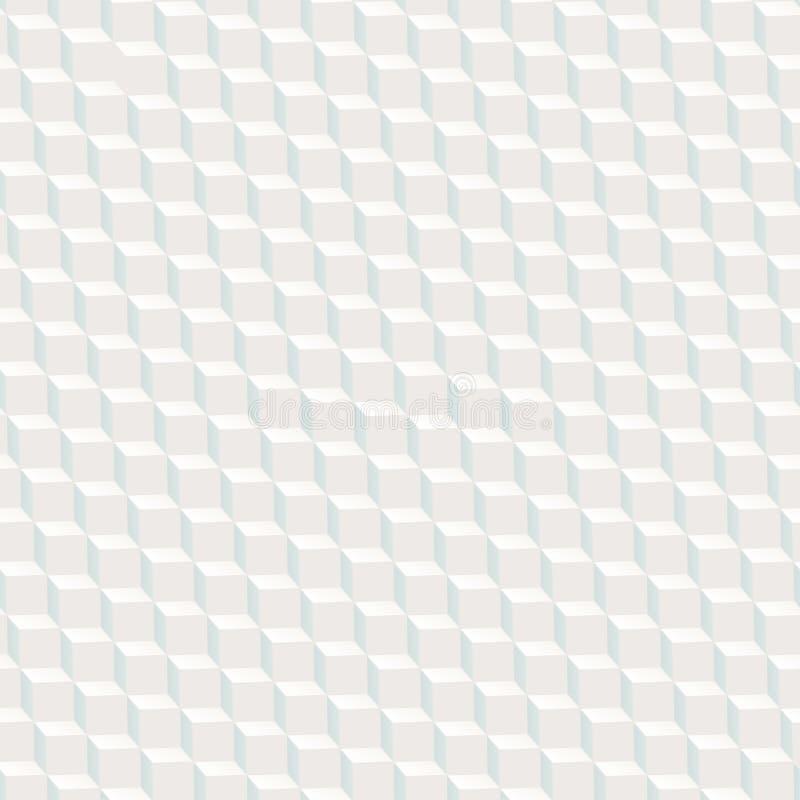白色求与蓝色阴影的纹理无缝的样式的立方 皇族释放例证