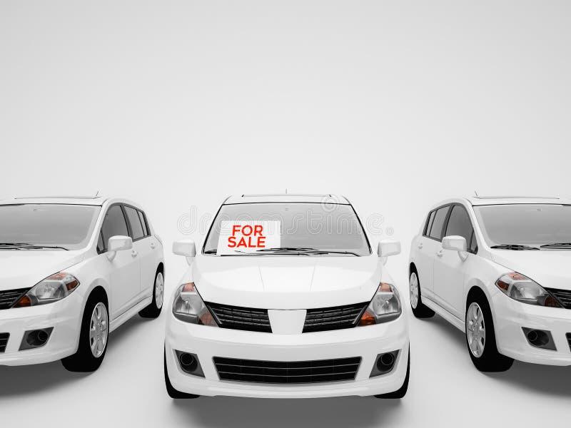 白色汽车在与a的白色背景停放了在t的待售标志 库存例证