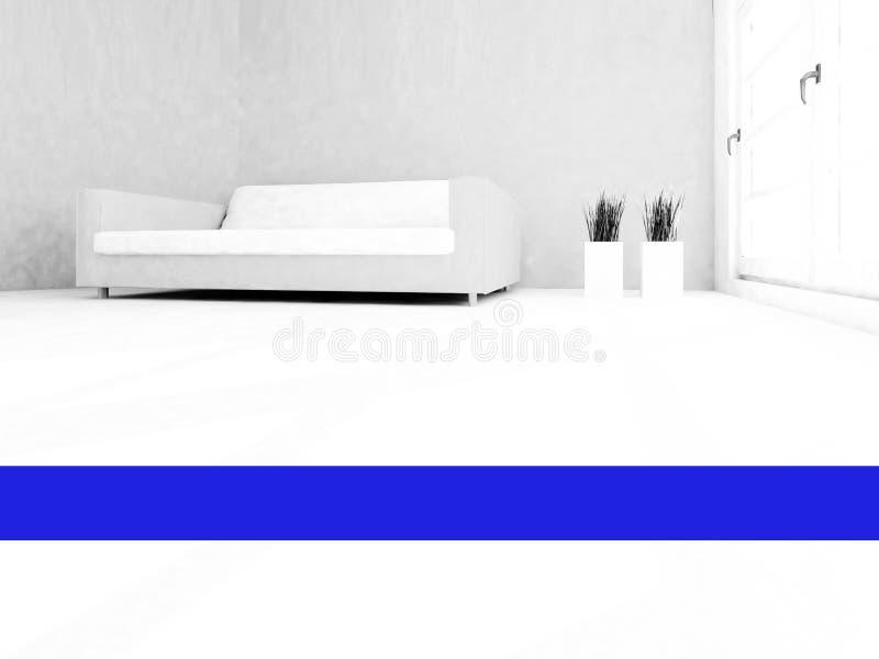 白色沙发在屋子里,3d 图库摄影