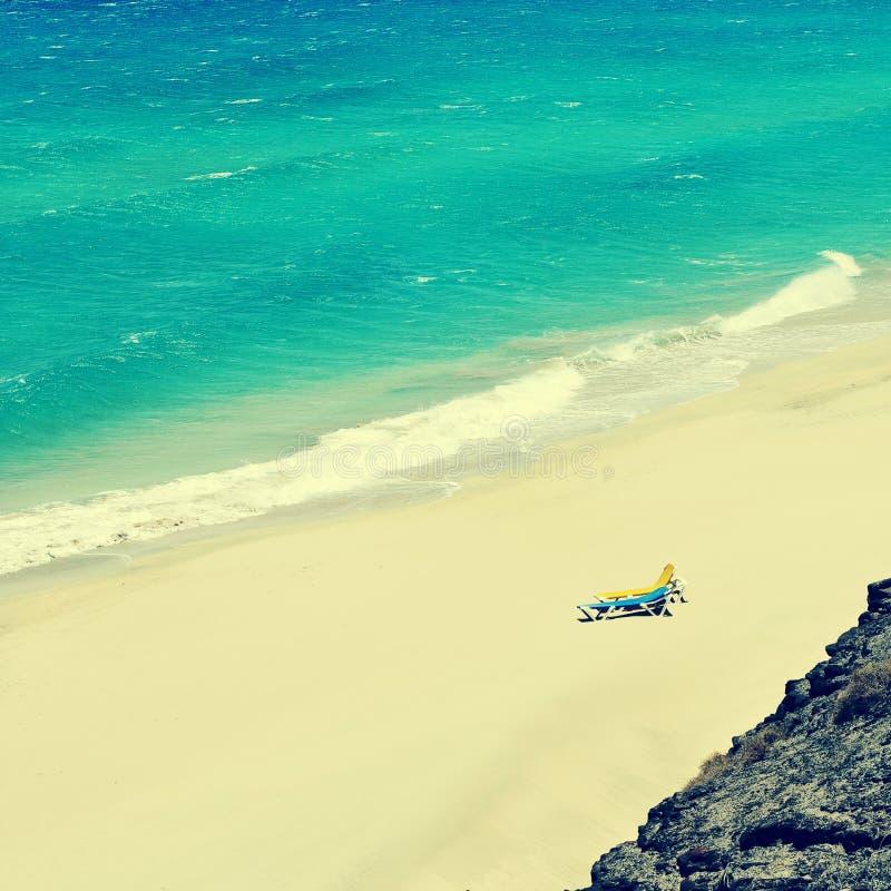 白色沙子海滩在费埃特文图拉岛,加那利群岛,西班牙 免版税库存图片