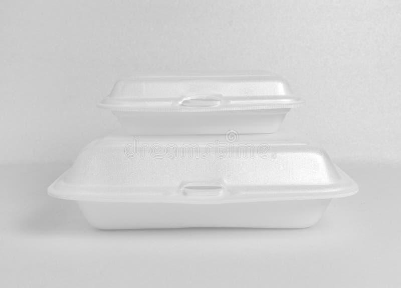 白色泡沫食物箱子 免版税库存图片
