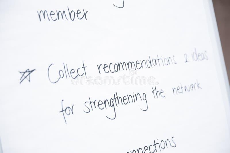 白色活动挂图板与收集推荐文本 免版税图库摄影