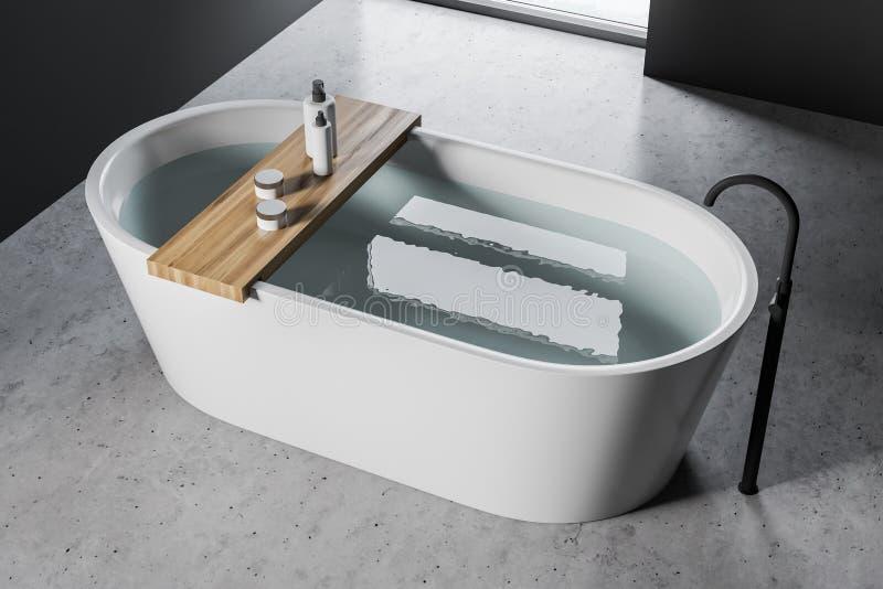 白色浴缸在具体地板卫生间里 库存例证