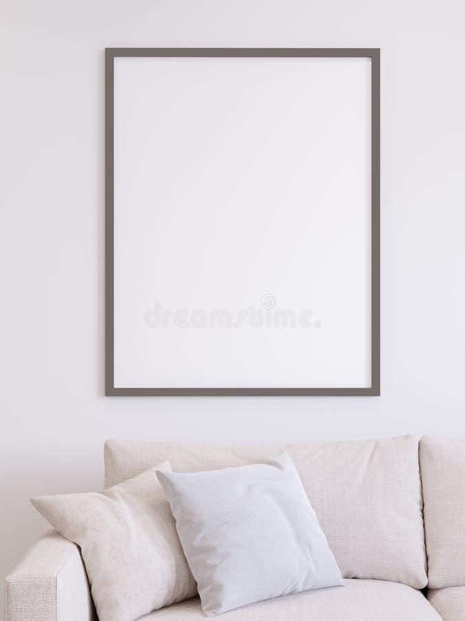 白色海报墙壁的嘲笑 向量例证