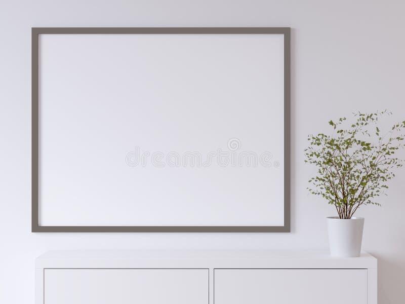 白色海报墙壁的嘲笑 库存例证