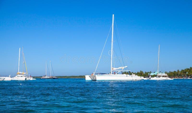 白色游船在海岸附近停住了 免版税库存照片